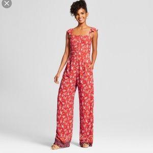 Floral red jumpsuit